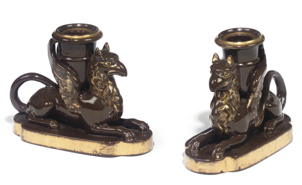 A PAIR OF STAFFORDSHIRE BROWN-