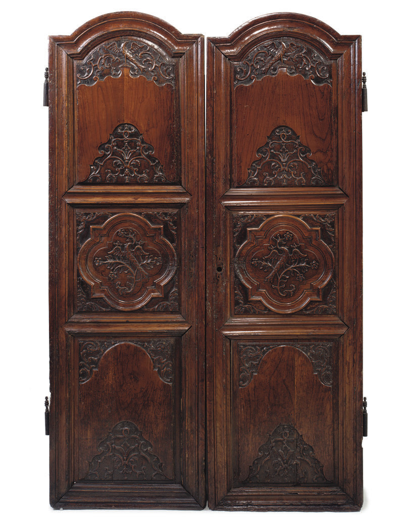 A PAIR OF LOUIS XV WALNUT ARMO