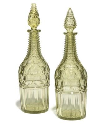 A PAIR OF URANIUM GREEN GLASS