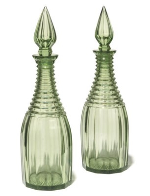 A PAIR OF ENGLISH GREEN-TINTED