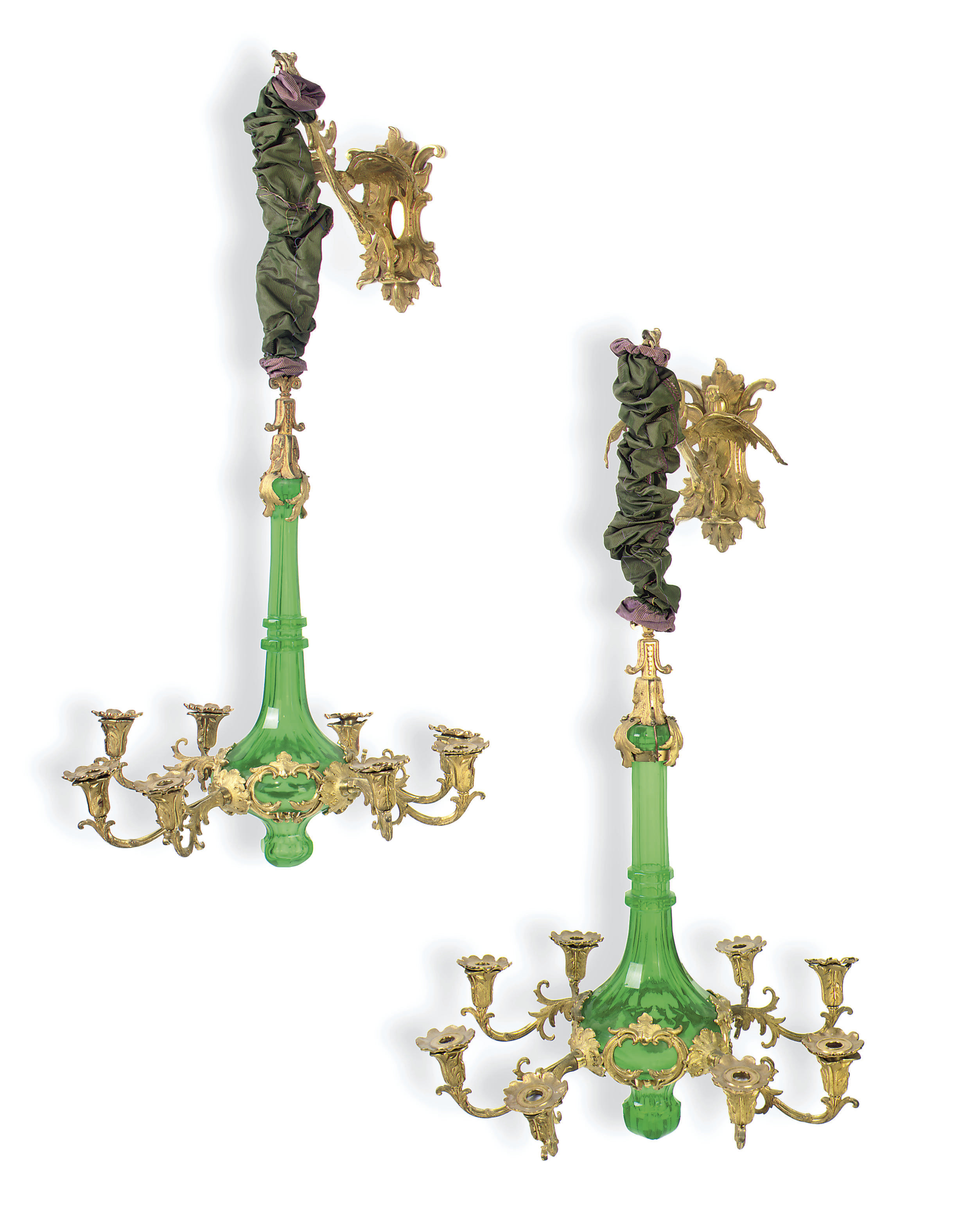 A PAIR OF ORMOLU AND GREEN-TIN