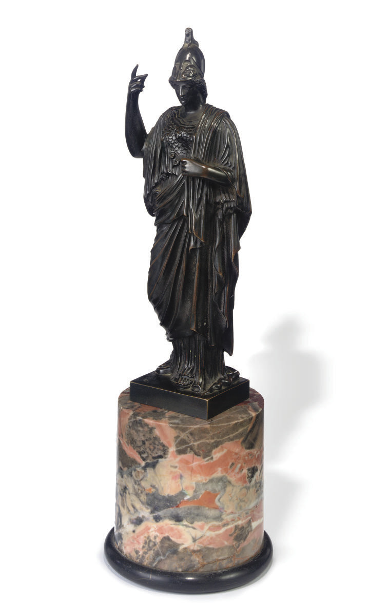 A BRONZE FIGURE OF ATHENA