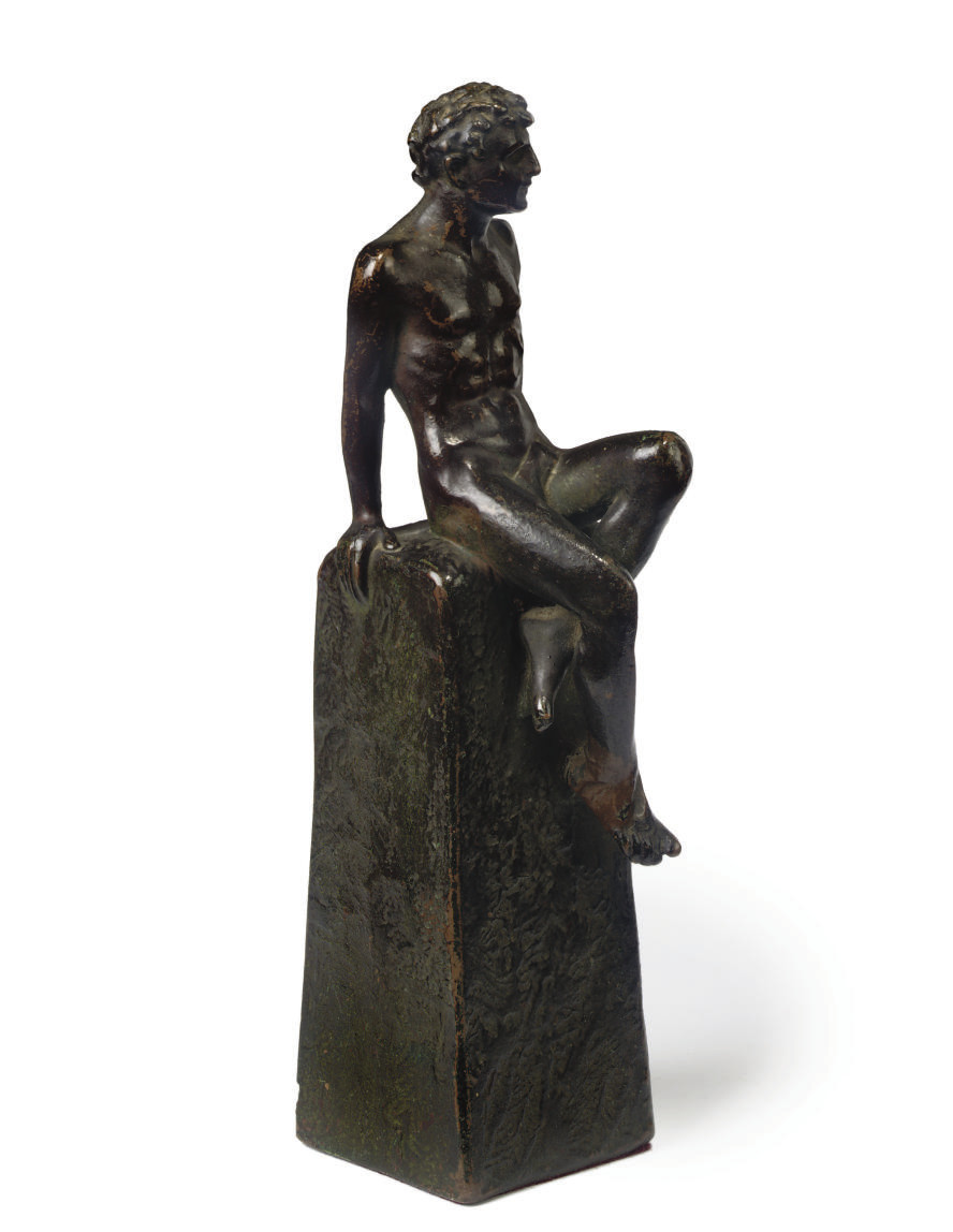 A BRONZE FIGURE OF A NAKED MAL