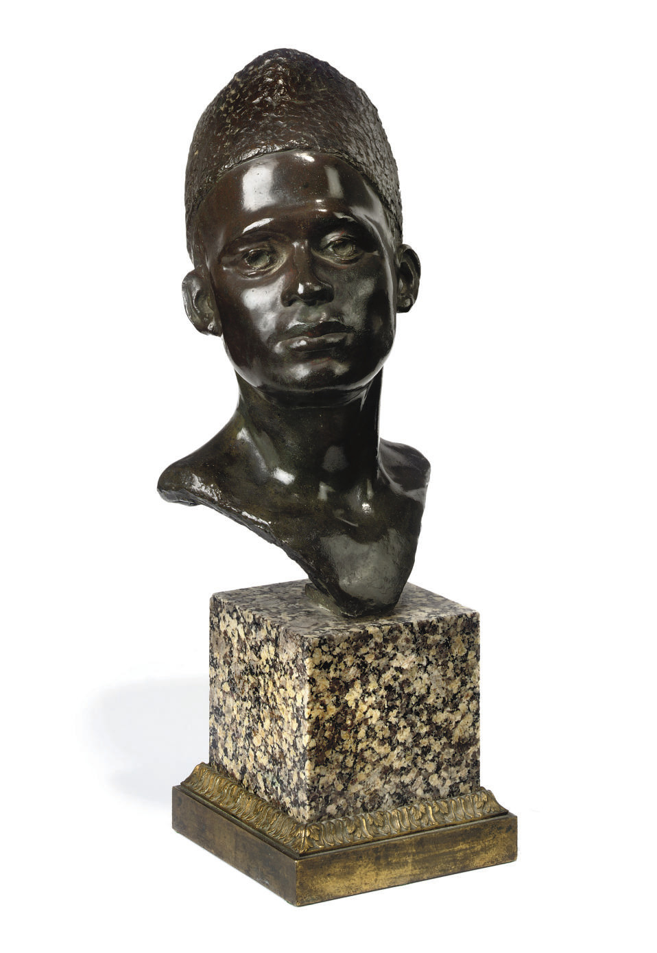 A BRONZE BUST OF A MOROCCAN BO