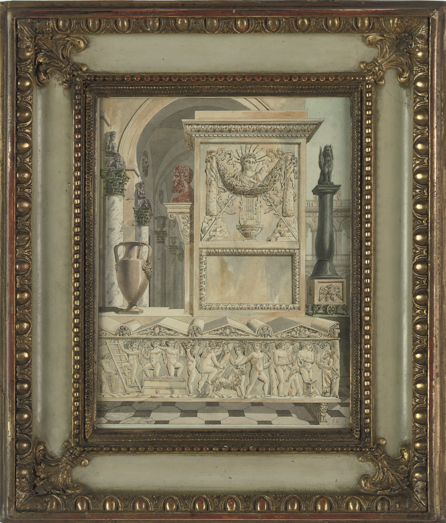 A classical capriccio with a sarcophagus in the foreground
