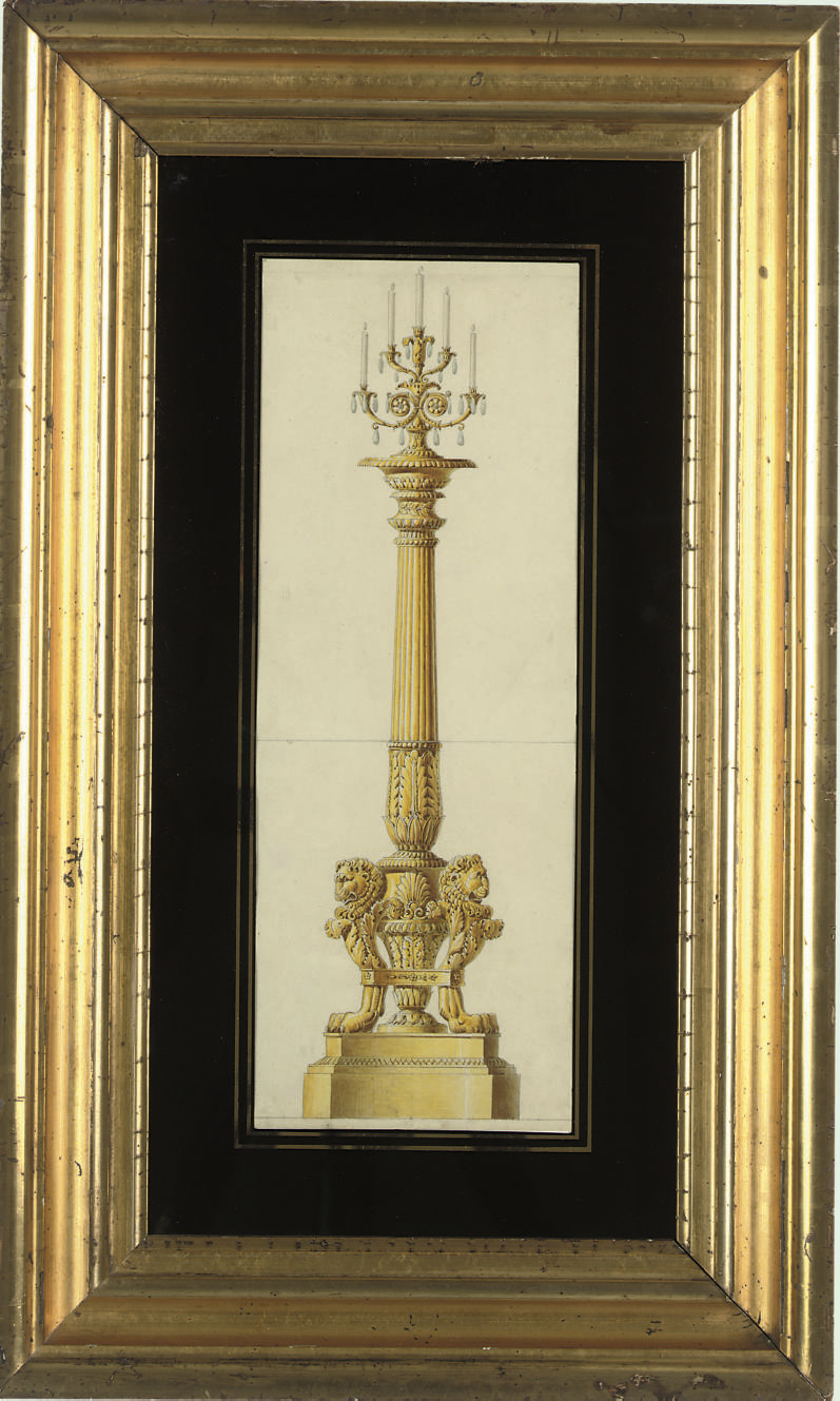 Design for a neo-classical gilt-bronze tripod candelebra, on fluted column, with acanthus and lion base