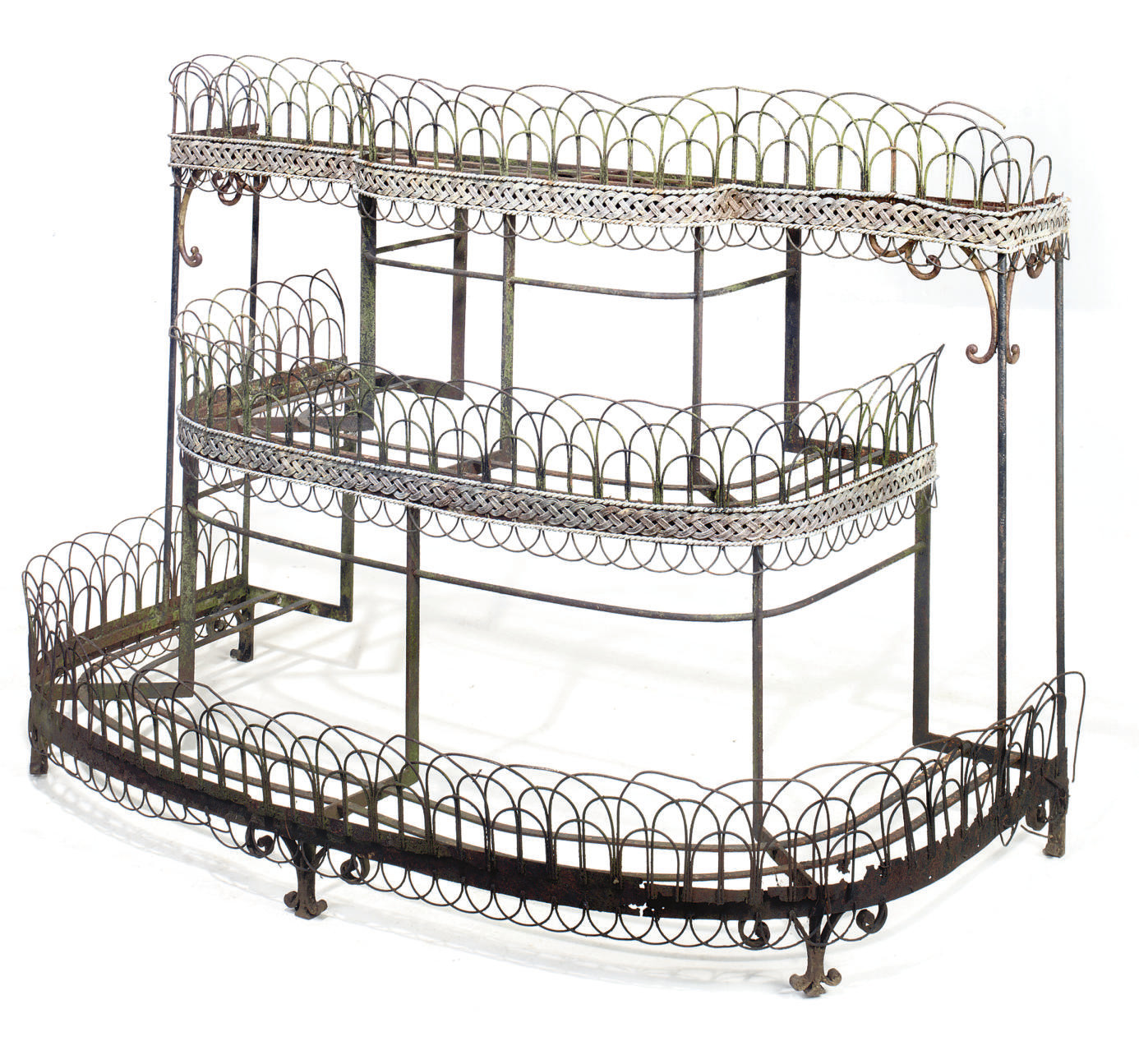 A REGENCY WROUGHT IRON AND WIRE-WORK THREE-TIER PLANT STAND