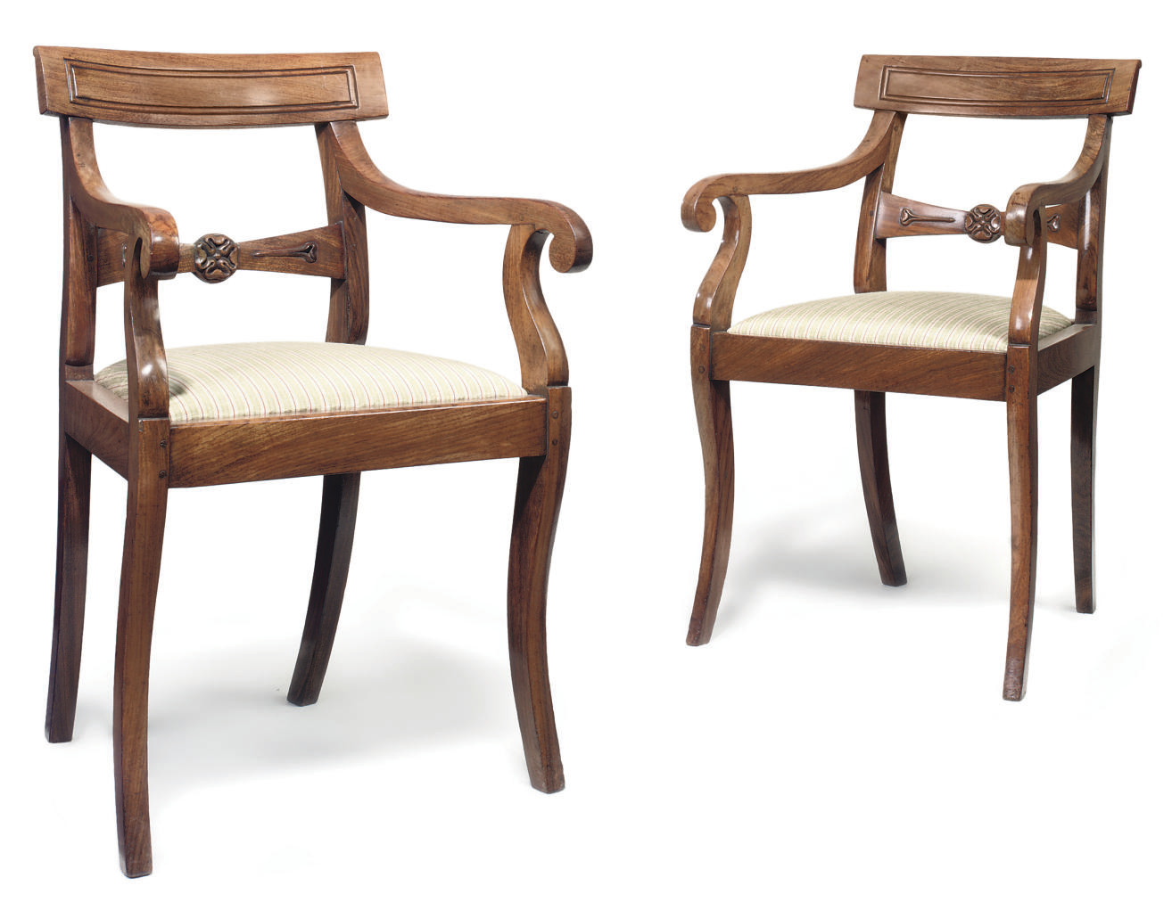 A PAIR OF ANGLO-INDIAN SOLID ROSEWOOD ARMCHAIRS