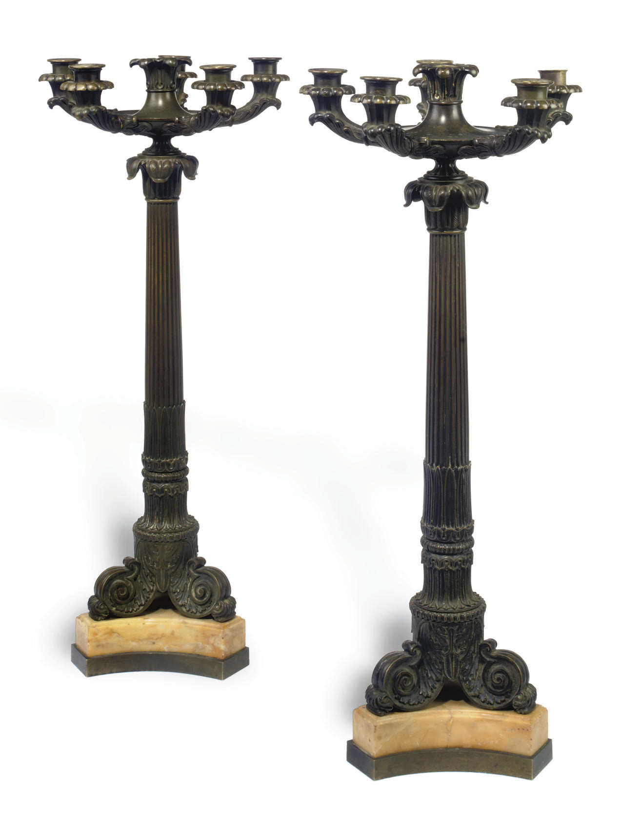 A PAIR OF CHARLES X BRONZE SIX-LIGHT CANDELABRA