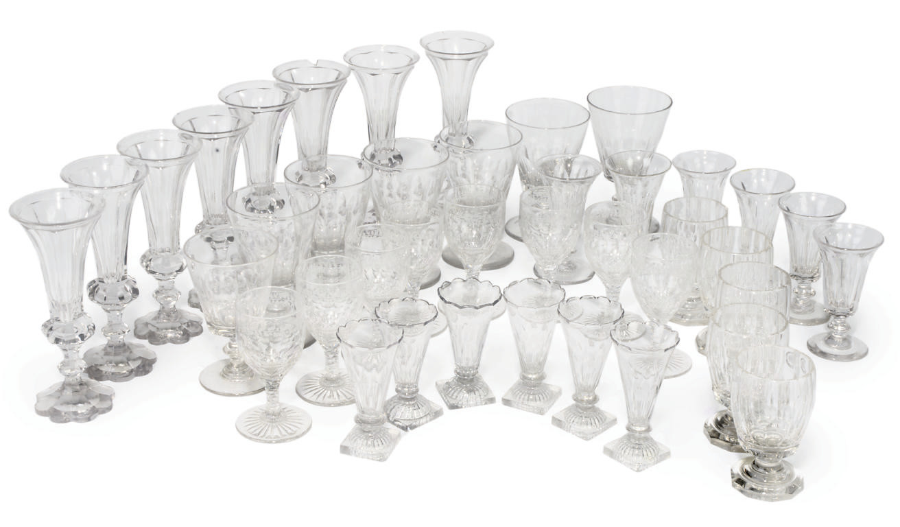 A COLLECTION OF GLASS PART TABLE-SERVICES