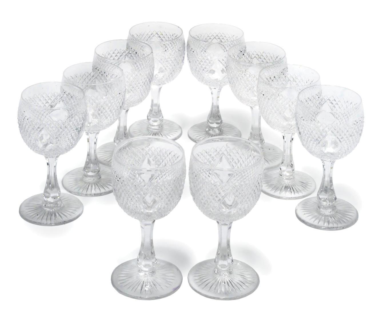 A SET OF TEN CUT-GLASS WINE-GL