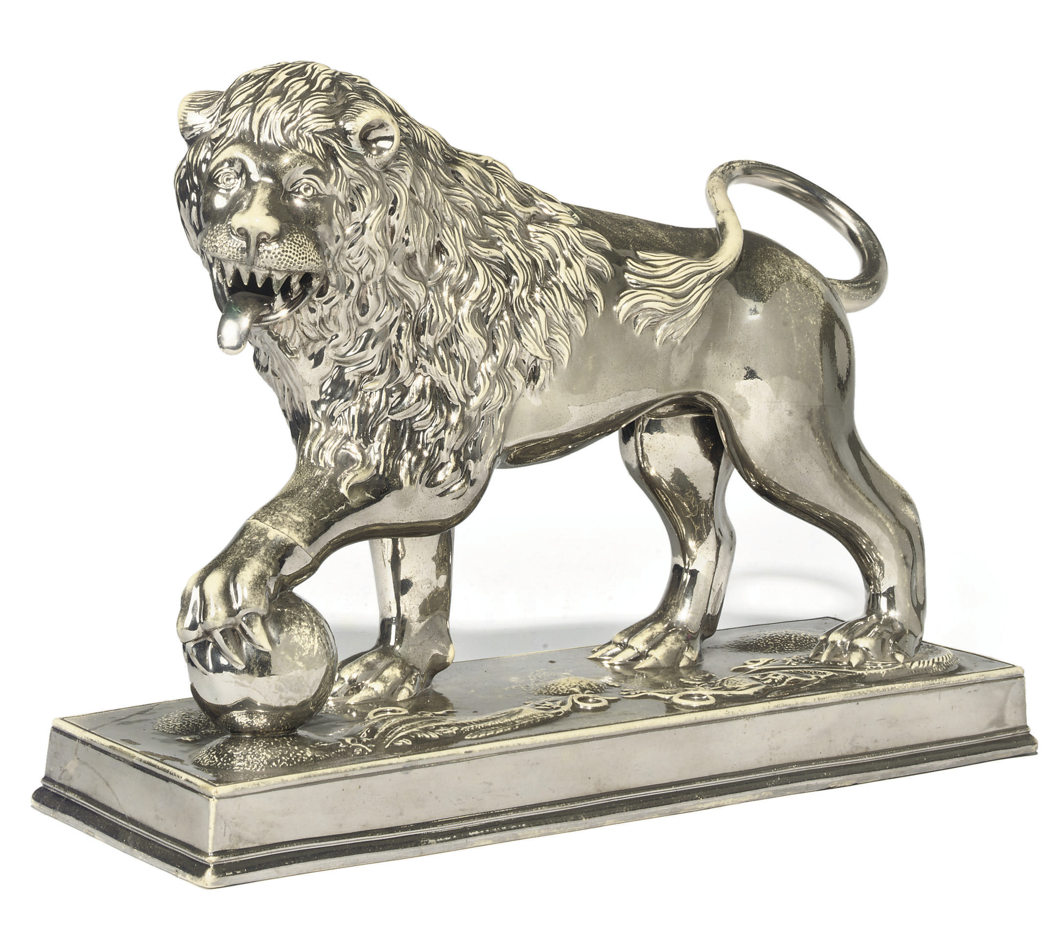 A STAFFORDSHIRE POTTERY SILVER-LUSTRE MODEL OF A MEDICI LION