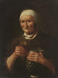Portrait of an old lady, a pitcher in her left hand, a glass in her right