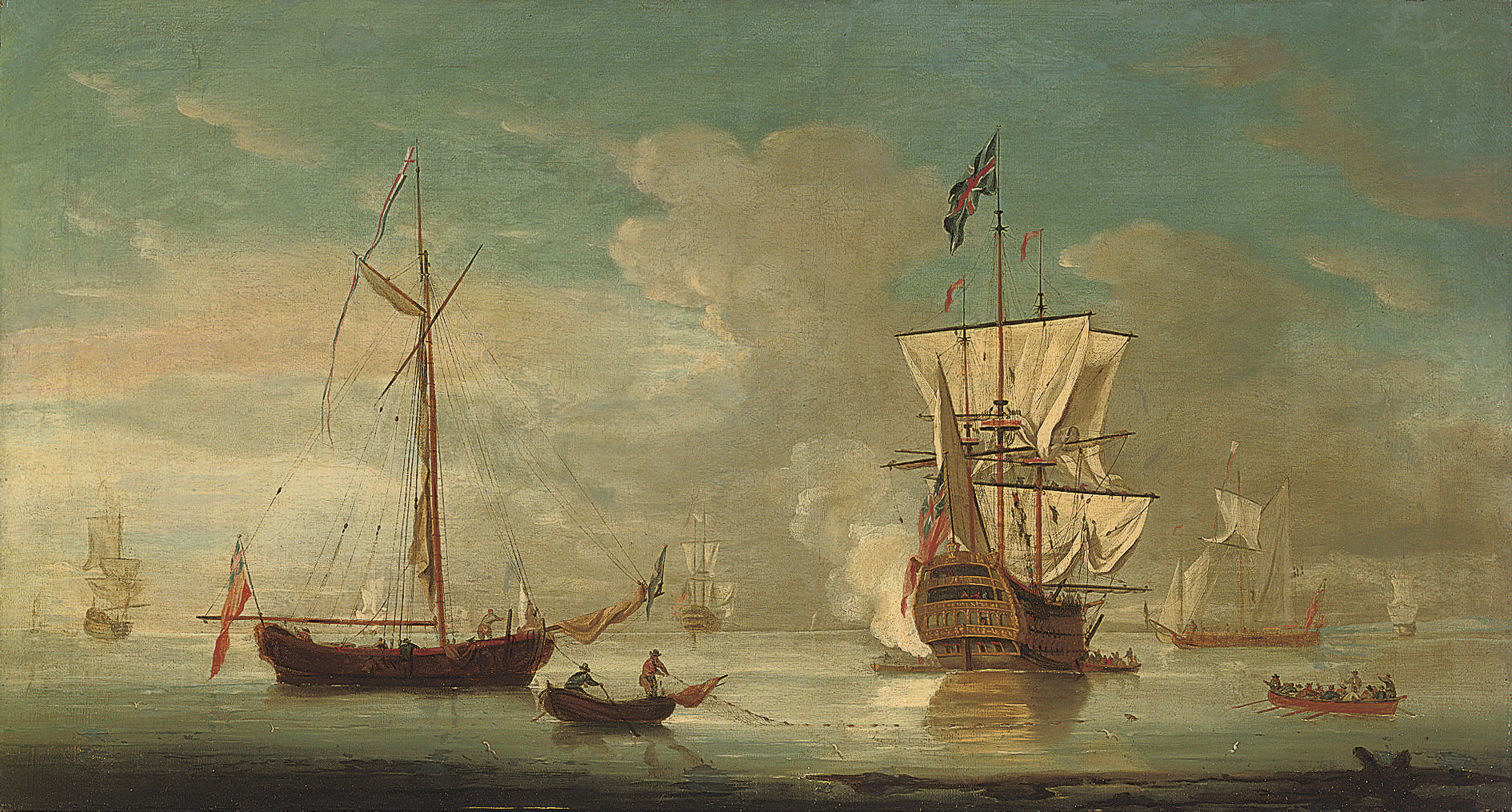 A British warship announcing her departure from the anchorage