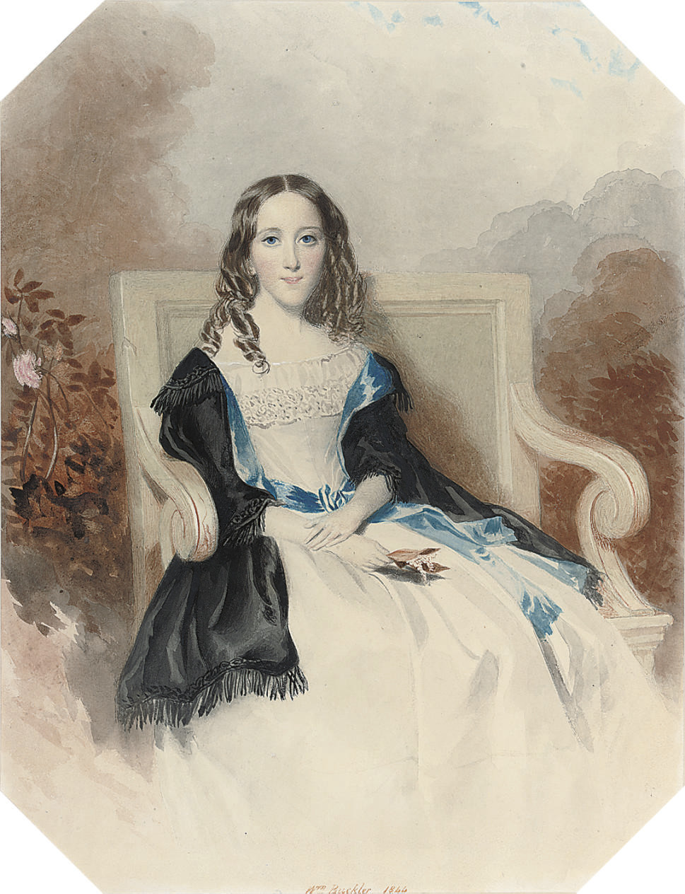 Portrait of a lady, thought to be Horatia Nelson Ward, seated in a garden chair