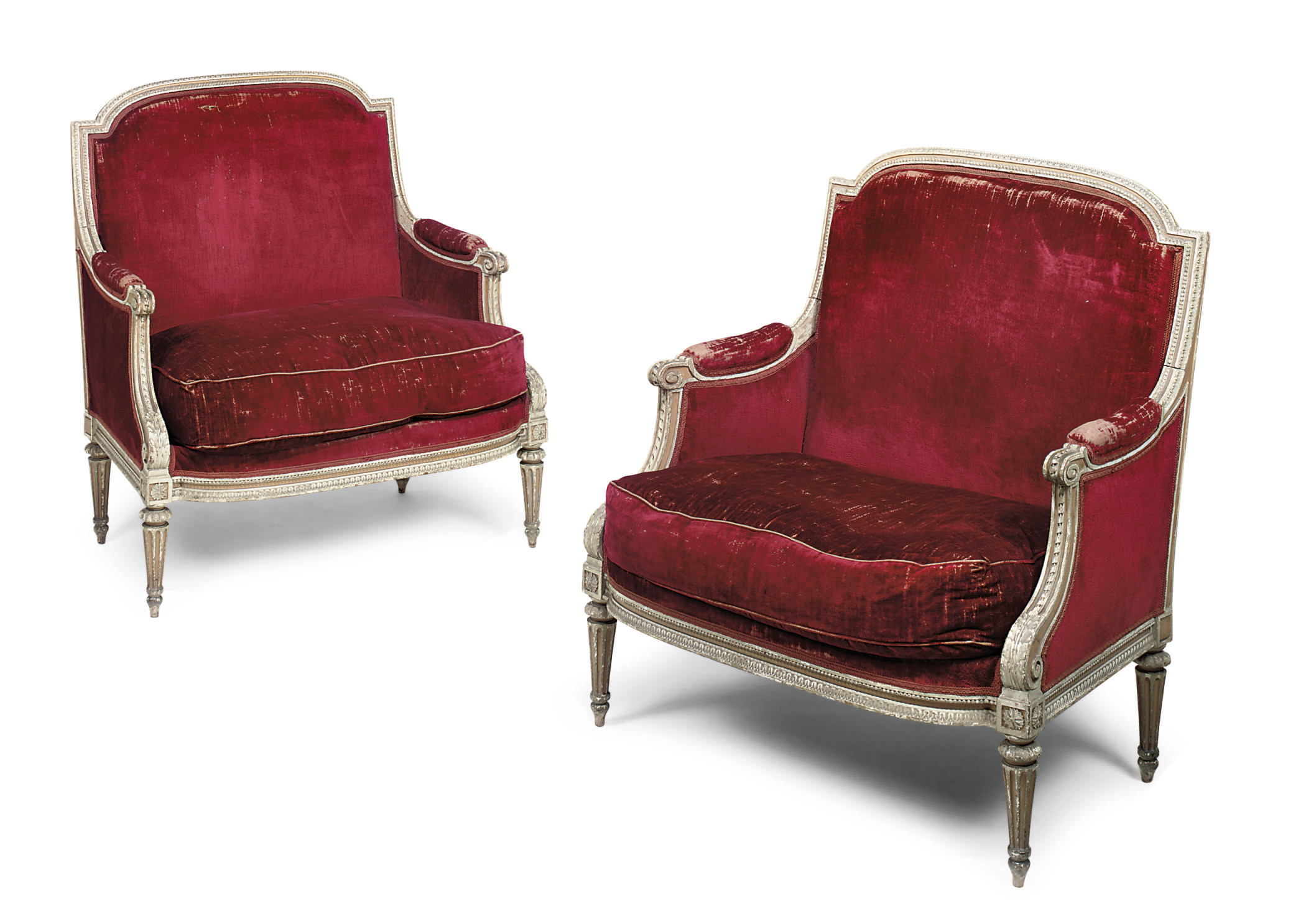 A PAIR OF FRENCH GREY AND YELLOW PAINTED MARQUISES