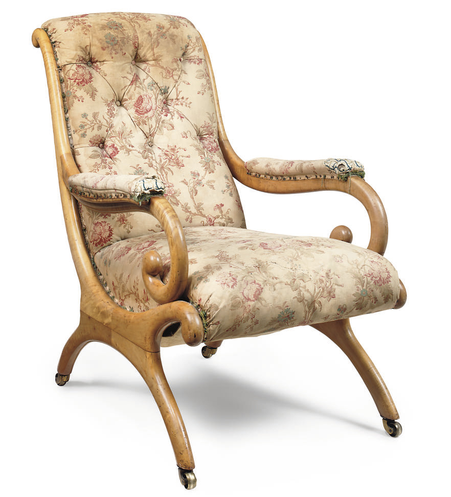 A SCOTTISH VICTORIAN MAPLE EASY ARMCHAIR