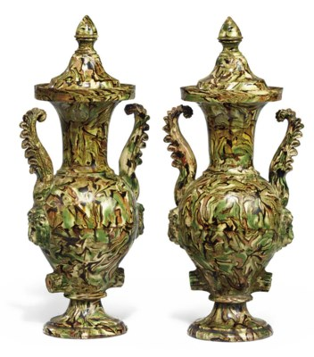 A PAIR OF FRENCH POTTERY MARBL