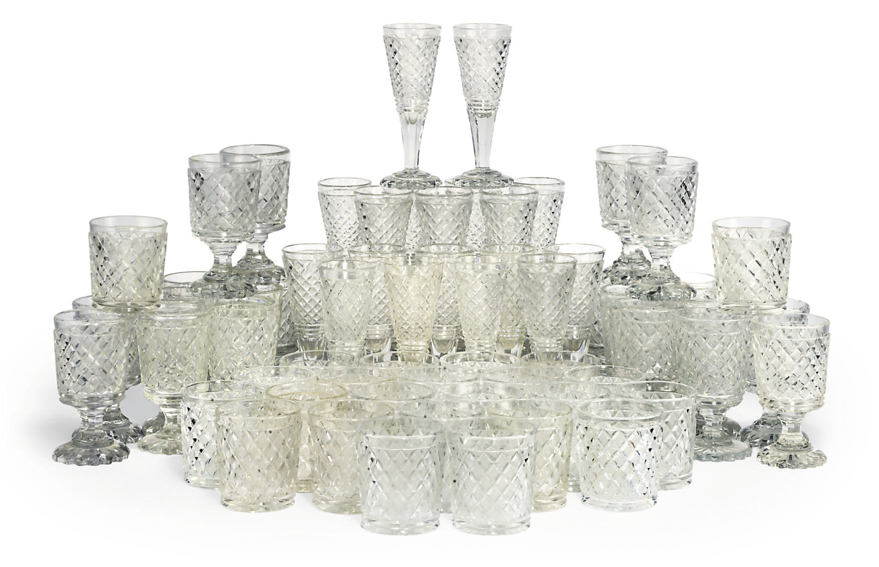 A SUITE OF ENGLISH CUT-GLASSWARE