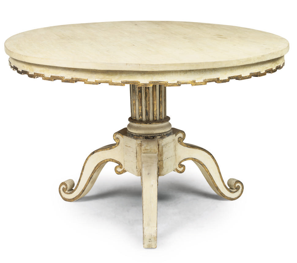 A SWEDISH WHITE PAINTED AND PARCEL-GILT CENTRE TABLE