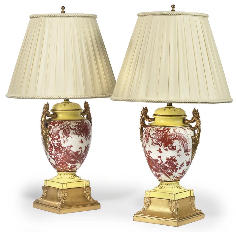 A PAIR OF ROYAL CROWN DERBY PORCELAIN LAMPS