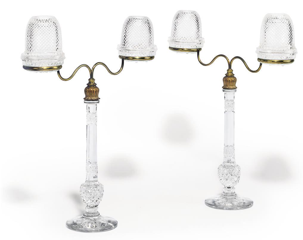 A PAIR OF VICTORIAN BRASS AND GLASS 'CRICKLITE' TWIN-LIGHT CANDELABRA