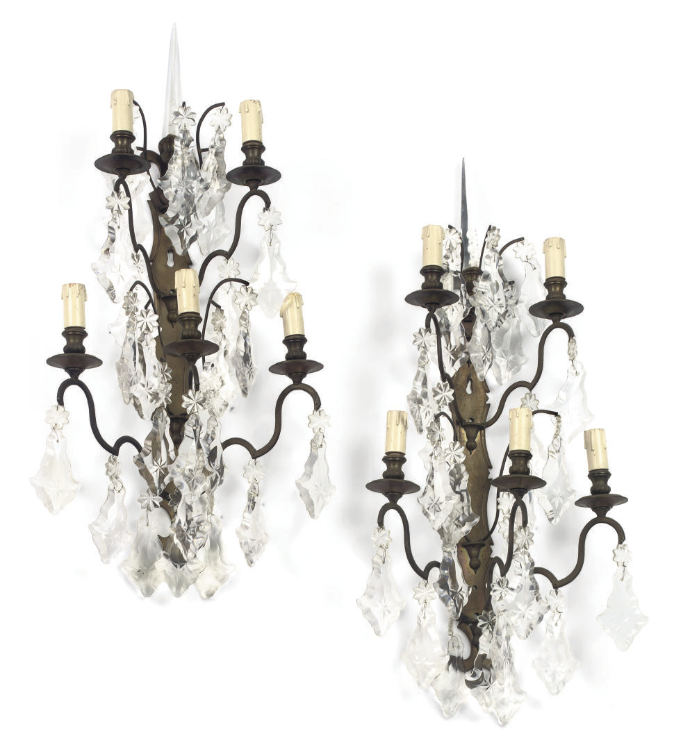 A PAIR OF GILT-METAL AND GLASS FIVE-LIGHT WALL APPLIQUES