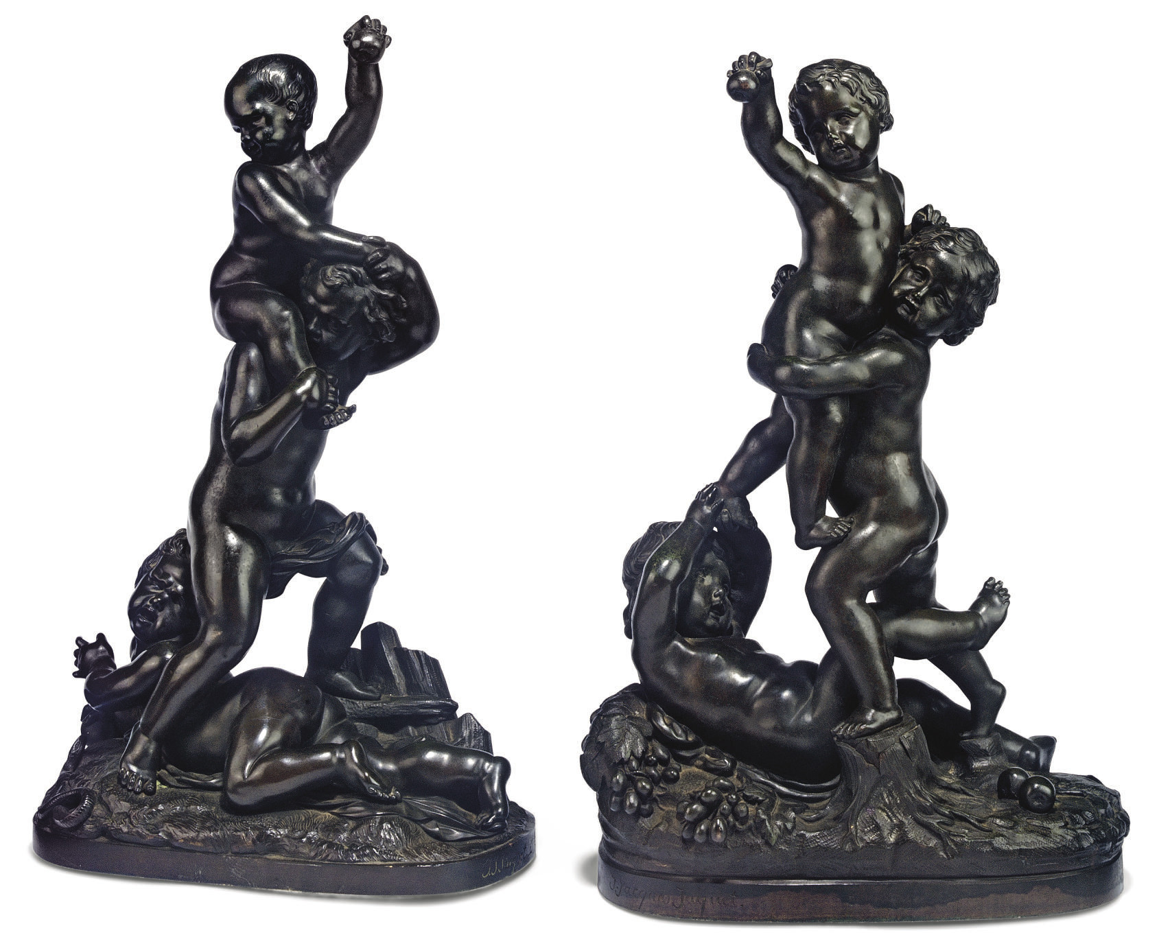 A PAIR OF FRENCH BRONZE PUTTI