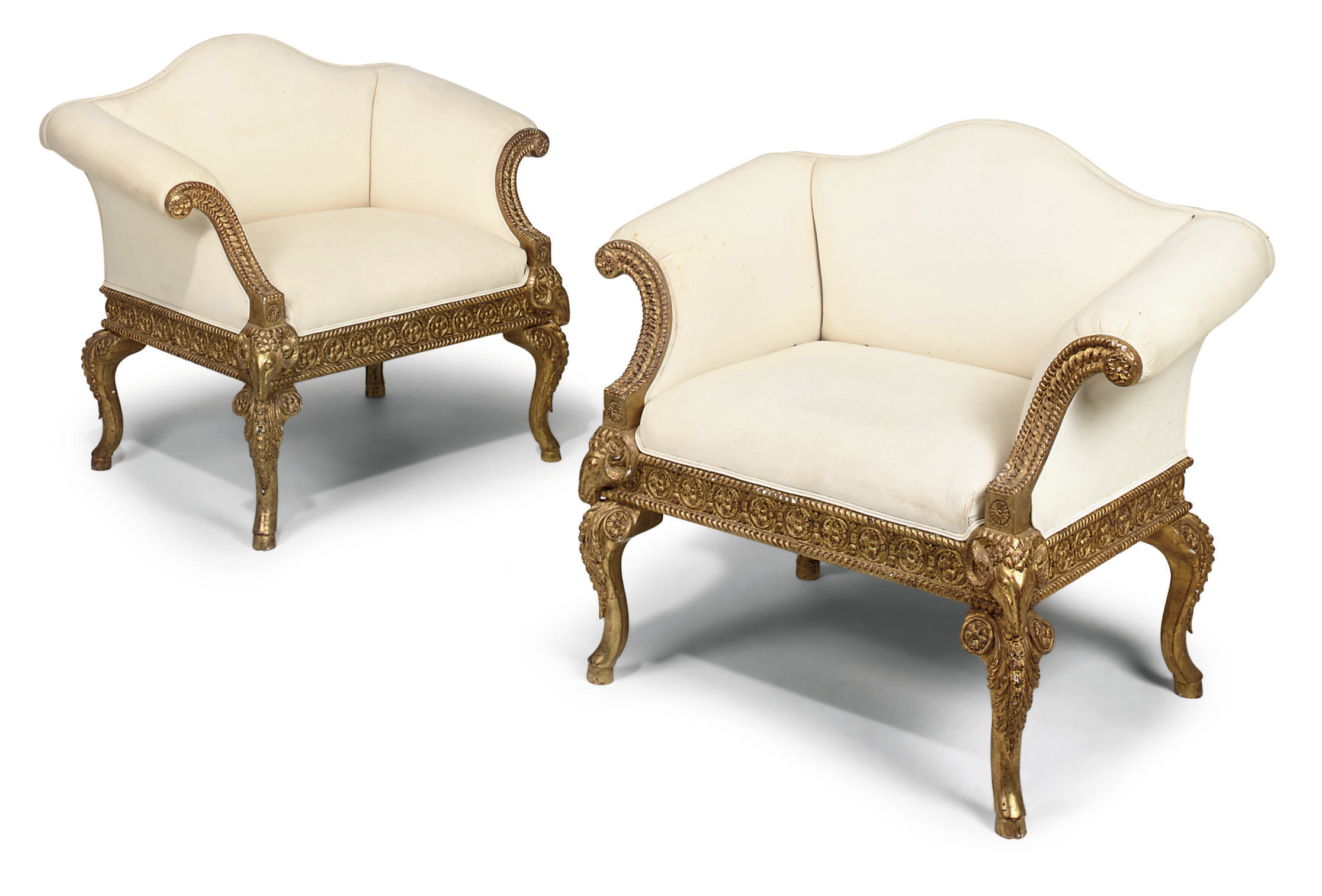 A PAIR OF GILTWOOD ARMCHAIRS