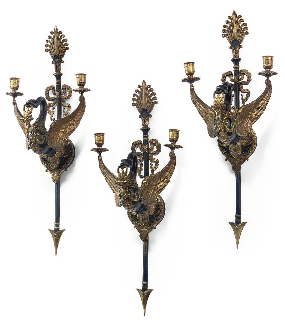 A SET OF THREE FRENCH GILT AND