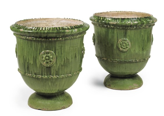 A PAIR OF LARGE FRENCH GREEN-G