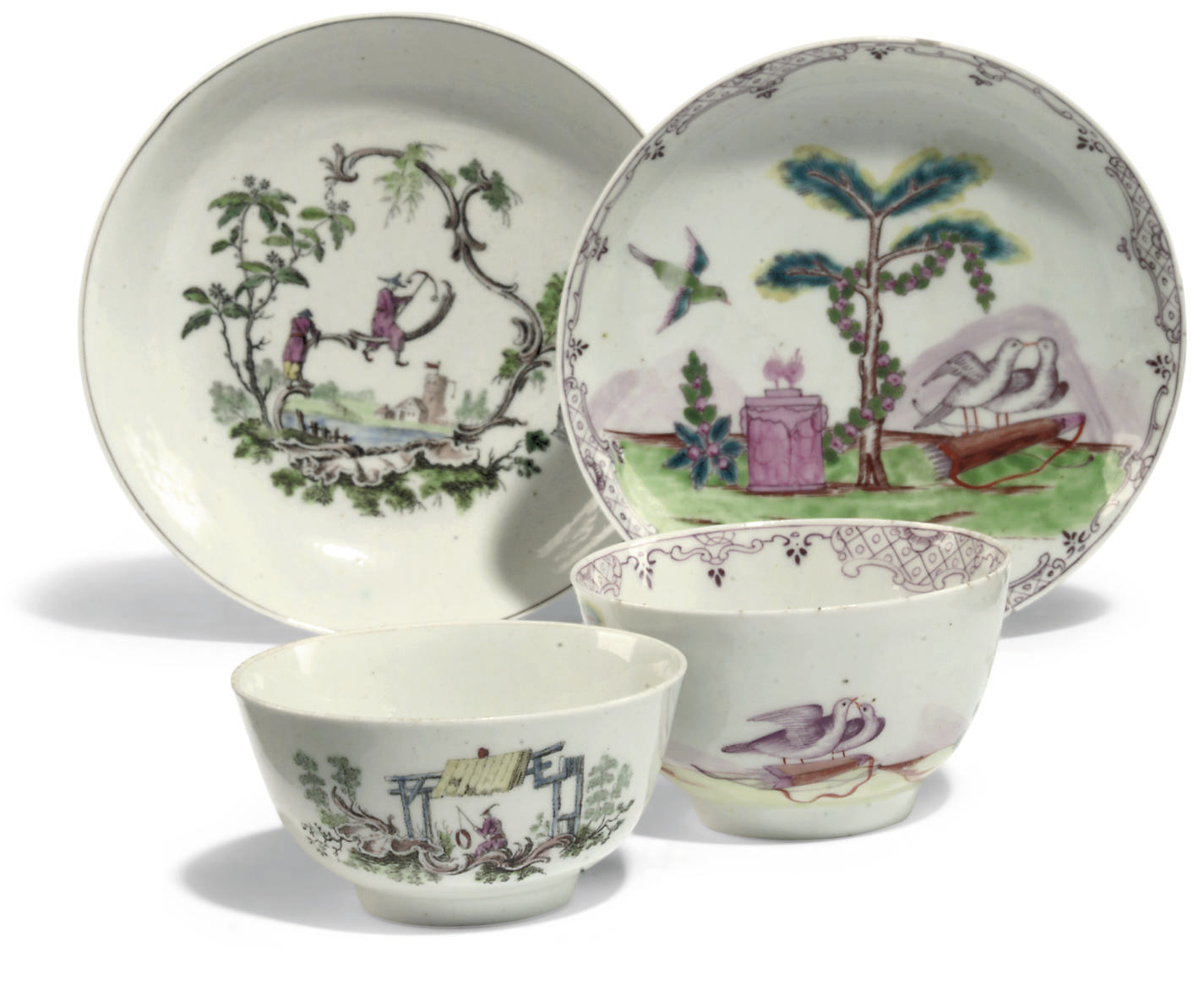 TWO WORCESTER TEABOWLS AND TWO