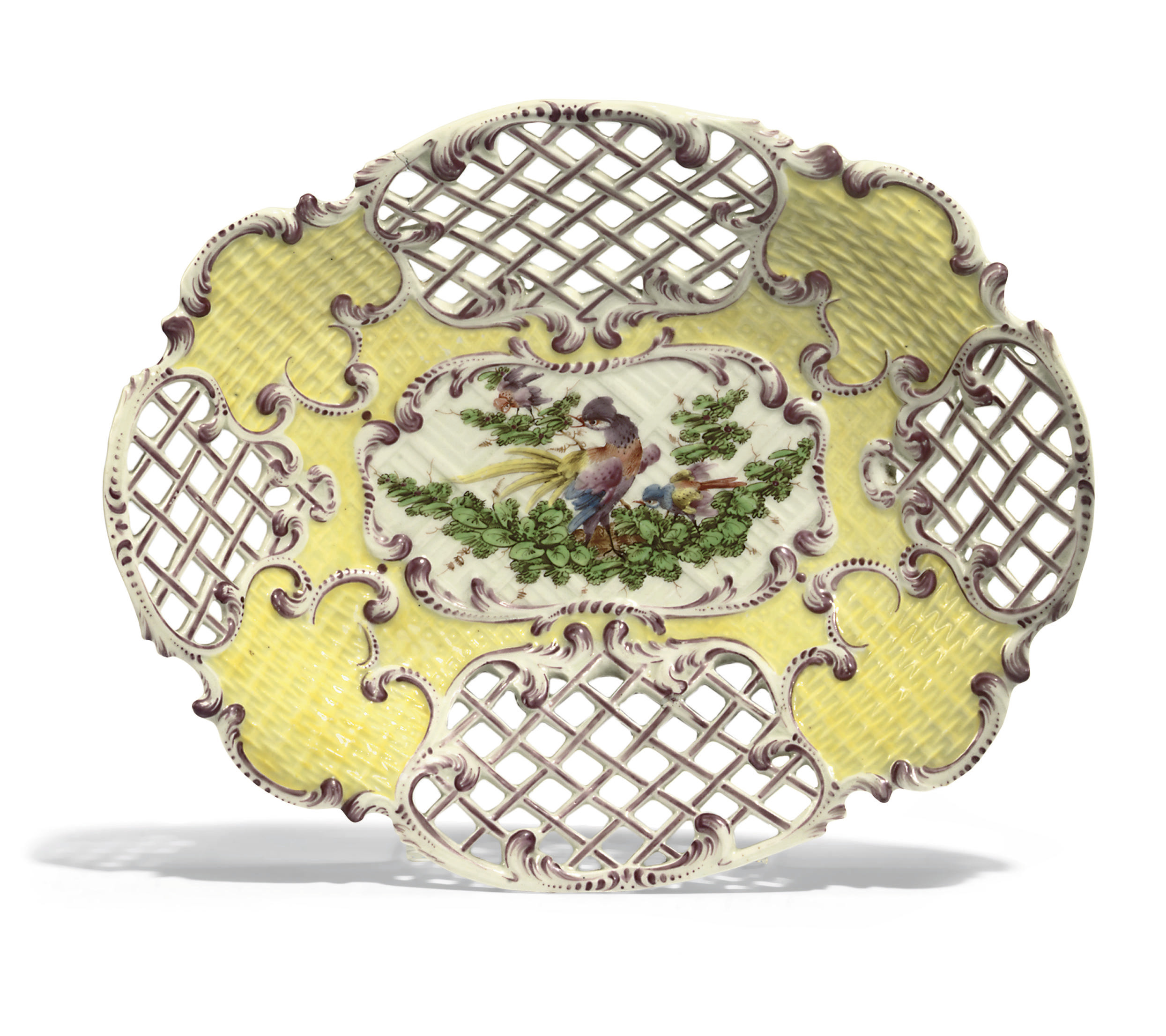 A WORCESTER YELLOW-GROUND PIERCED SHAPED OVAL DISH