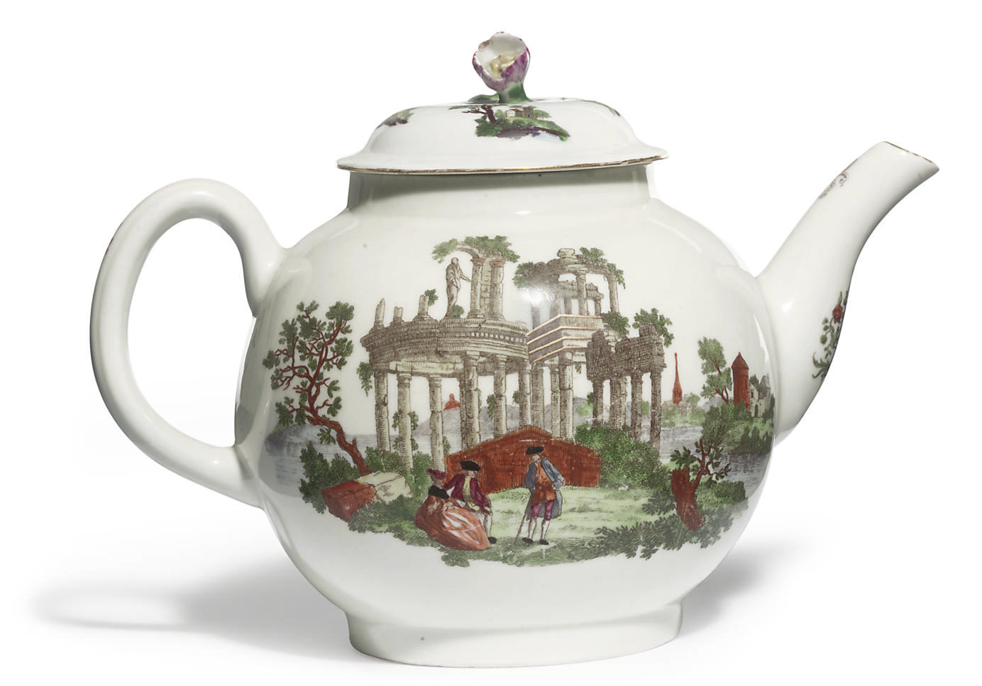 A WORCESTER GLOBULAR TEAPOT AND A COVER