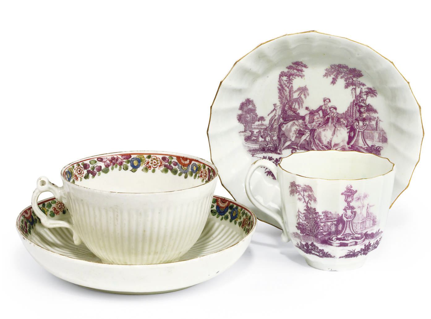 FOUR WORCESTER CUPS AND SAUCER
