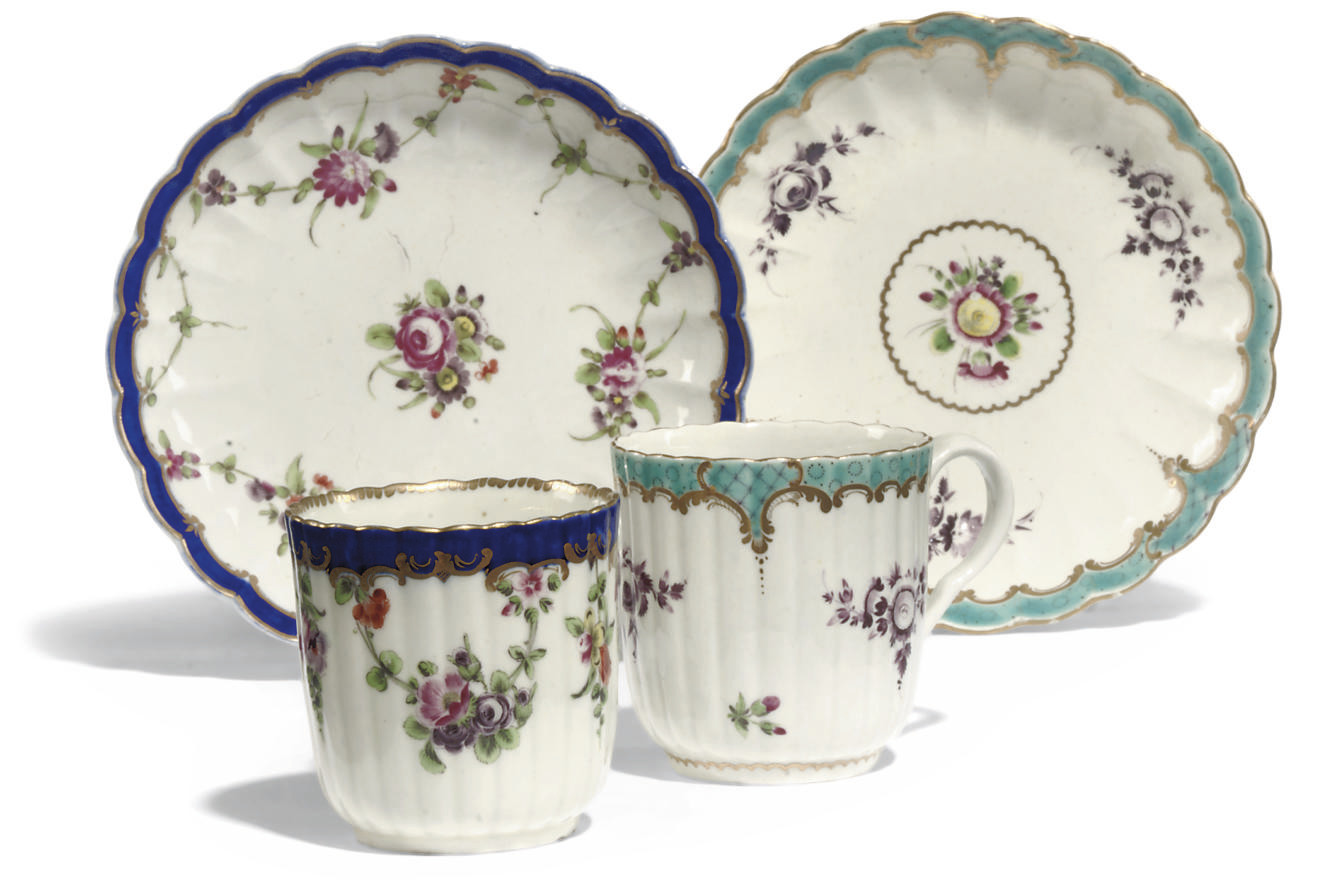 A WORCESTER COFFEE-CUP AND SAUCER AND A CUP AND A SAUCER