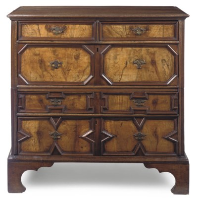 AN ENGLISH OAK AND WALNUT CHES