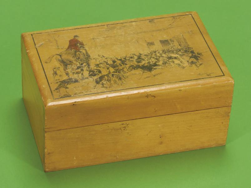 A wooden cigarette box