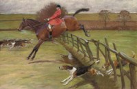 The Master of the Hunt, Edward Preston Rawnsley, clearing a fence