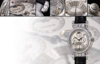 """FRANCK MULLER, """"CALIBRE 97"""" EXCEPTIONALLY FINE AND EXCEEDINGLY RARE, POSSIBLY UNIQUE, 950 PLATINUM AND DIAMOND-SET MANUAL-WINDING PERPETUAL CALENDAR GRANDE ET PETITE SONNERIE MINUTE REPEATING WRISTWATCH WITH EQUATION OF TIME, RETROGRADE MONTH, MOON-PHASE DISPLAY AND 24-HOUR INDICATION"""