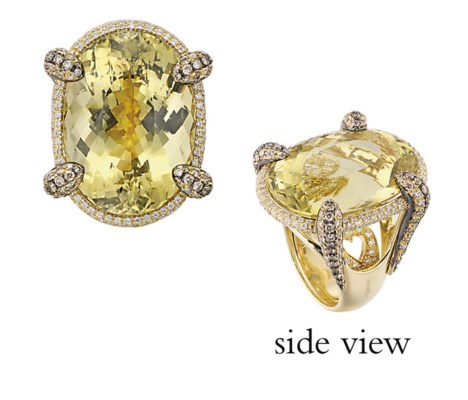 A HELIODOR AND DIAMOND RING, B