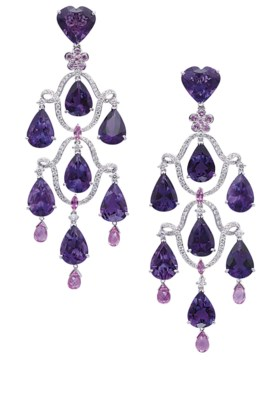 AN ATTRACTIVE PAIR OF AMETHYST