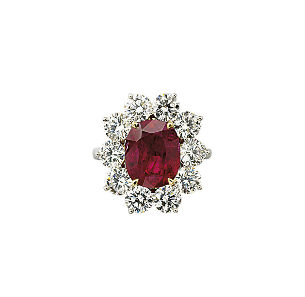 A RUBY AND DIAMOND RING, BY AS