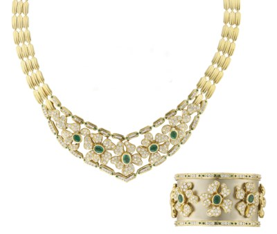 AN EMERALD AND DIAMOND NECKLAC