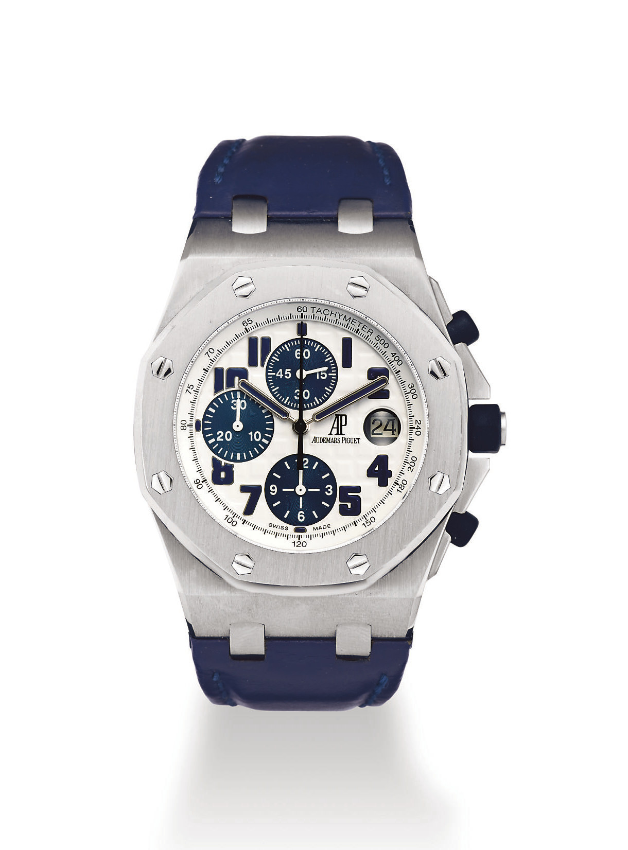 Audemars piguet royal oak offshore chronograph navy stainless steel automatic antimagnetic for Royal oak offshore navy