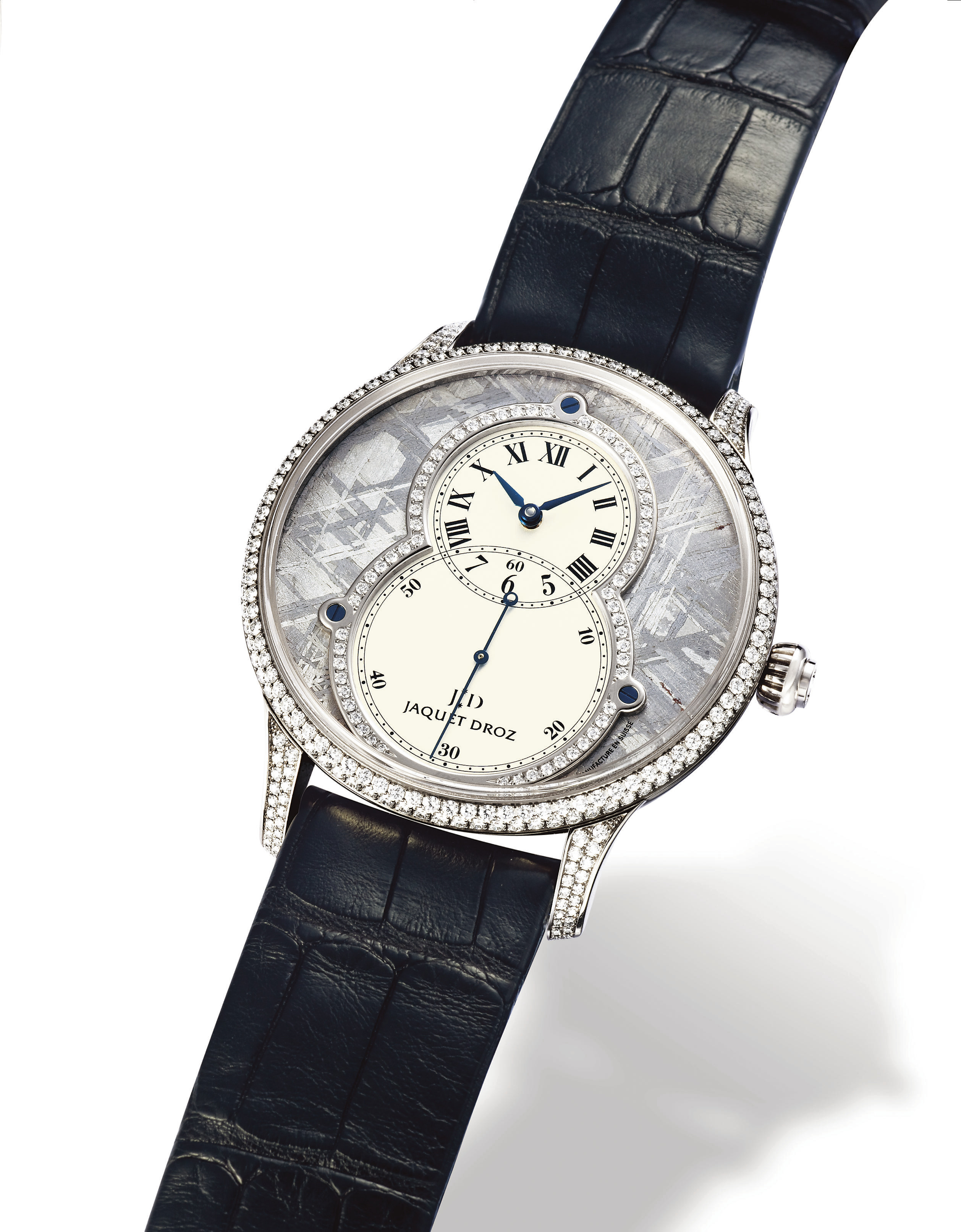 "JAQUET DROZ, ""HOMMAGE GENÈVE 1784 - GRANDE SECONDE METEORITE"" PIECE UNIQUE  WHITE GOLD AUTOMATIC WRISTWATCH WITH DIAMOND-SET CASE AND METEORITE DIAL"