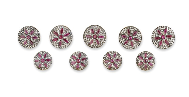 A SET OF DIAMOND AND RUBY SHER