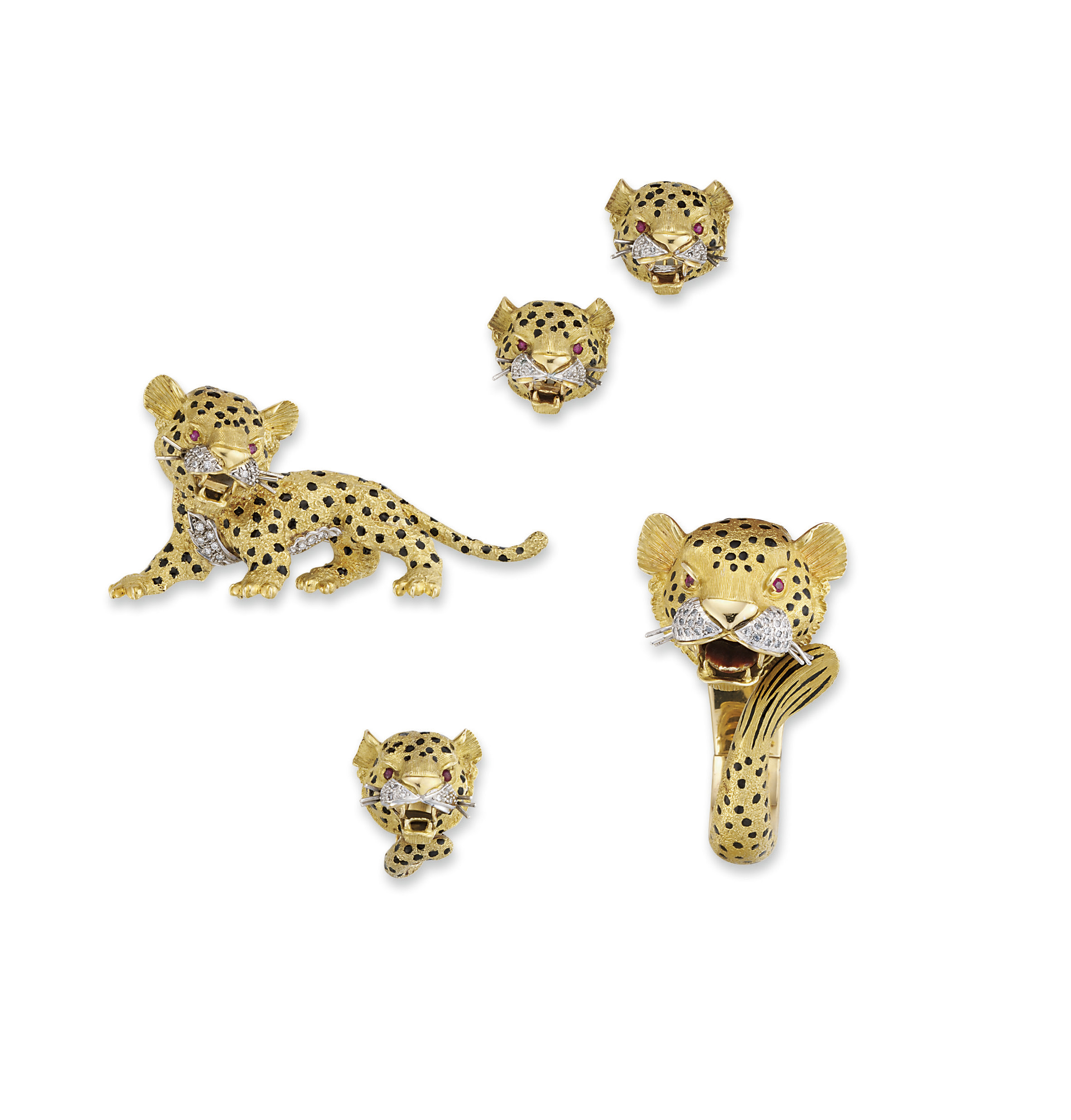 AN AMUSING SET OF DIAMOND, RUBY AND ENAMEL LEOPARD JEWELLERY, BY SANZ