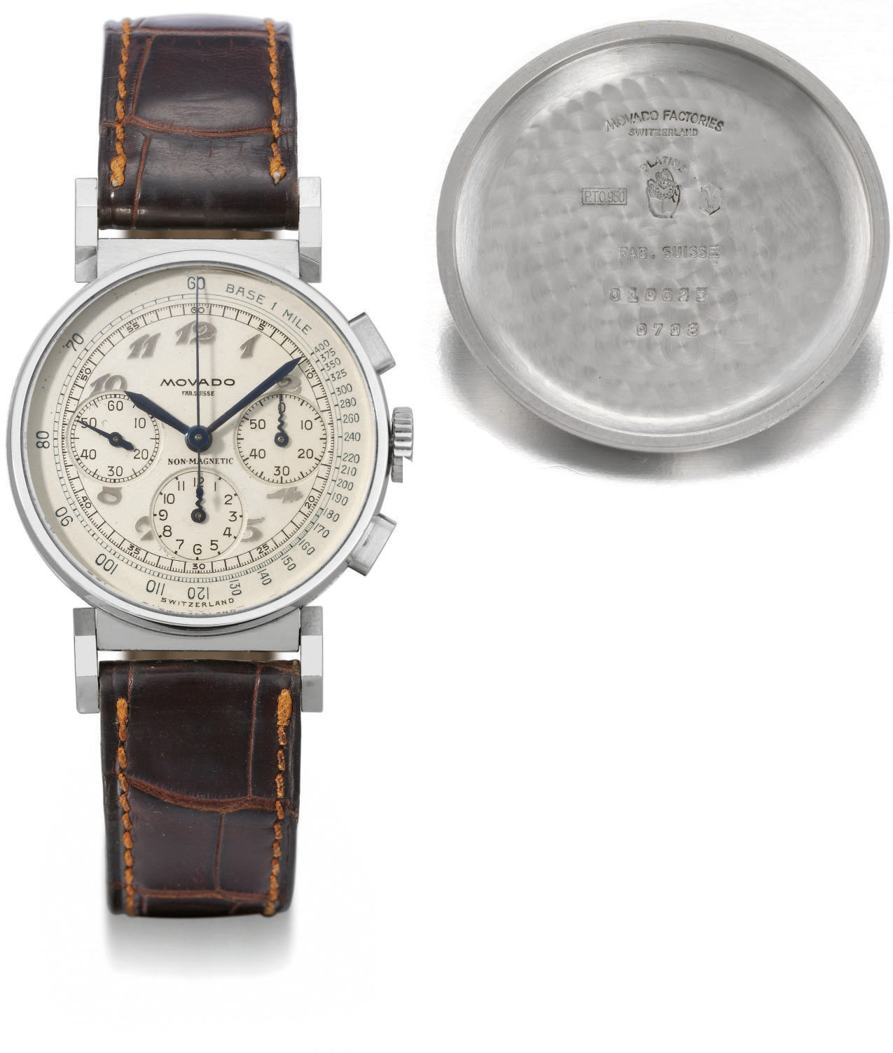 Movado. An extremely fine and rare platinum chronograph wristwatch with Breguet numerals and unusual flexible lugs