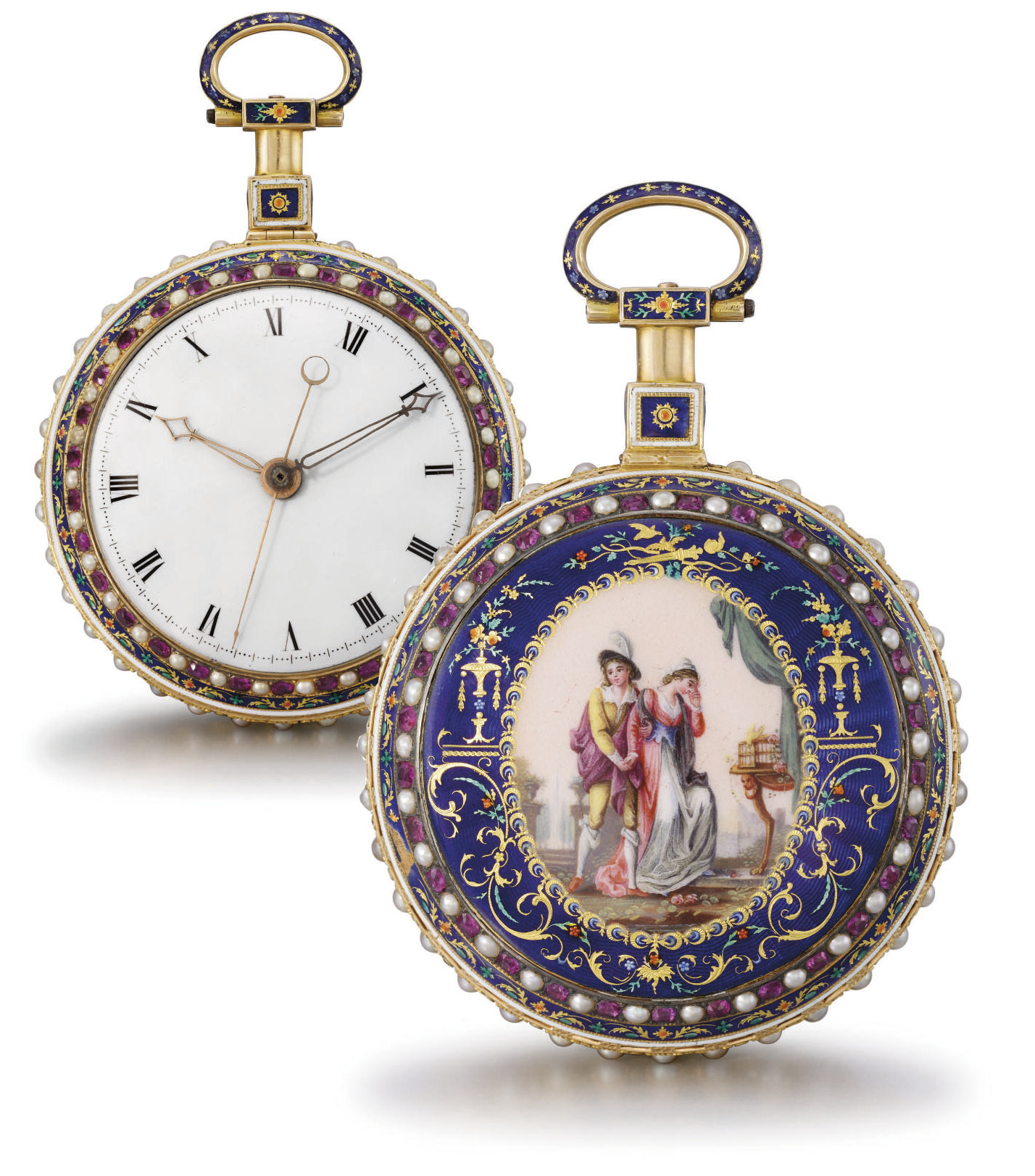 Attributed to Jaquet-Droz. A very fine and rare 18K gold, enamel, ruby and pearl-set grande sonnerie cylinder watch with centre seconds, made for the Chinese market